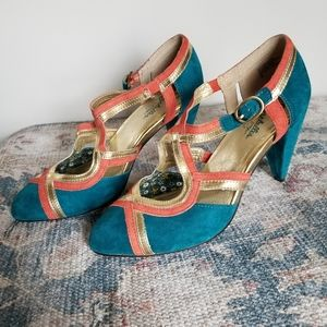 Seychelles Size 9 turquoise with coral & gold pump